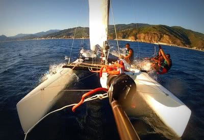 Hobie Tiger sailing in the Italian Riviera