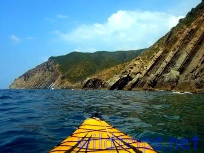 Kayak in the Italian Riviera, at Moneglia