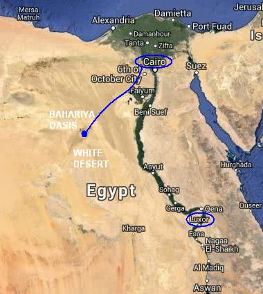 Egypt travel itinerary map