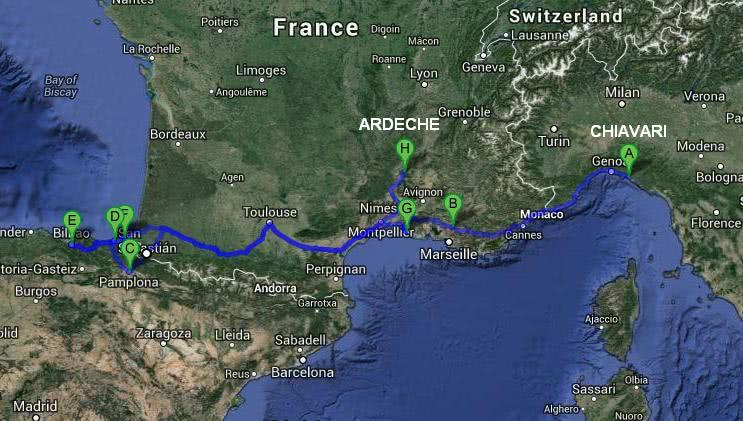 France and Spain by camper travel itinerary map