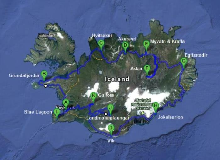 Iceland travel itinerary map