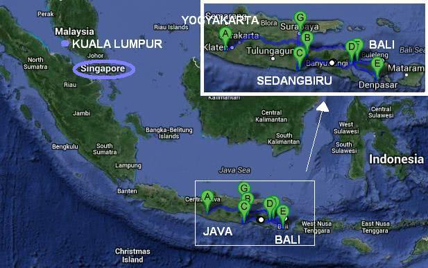 Indonesia travel itinerary map