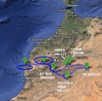 Morocco travel itinerary map
