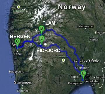 Norway travel itinerary map