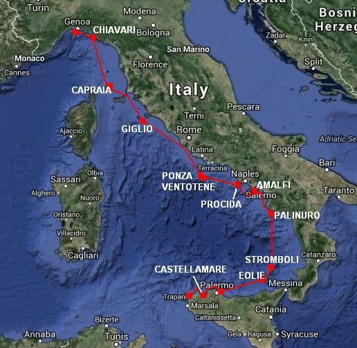 Sailing Italy travel itinerary map