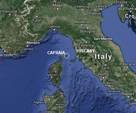 Map of sailing holidays in Tuscany