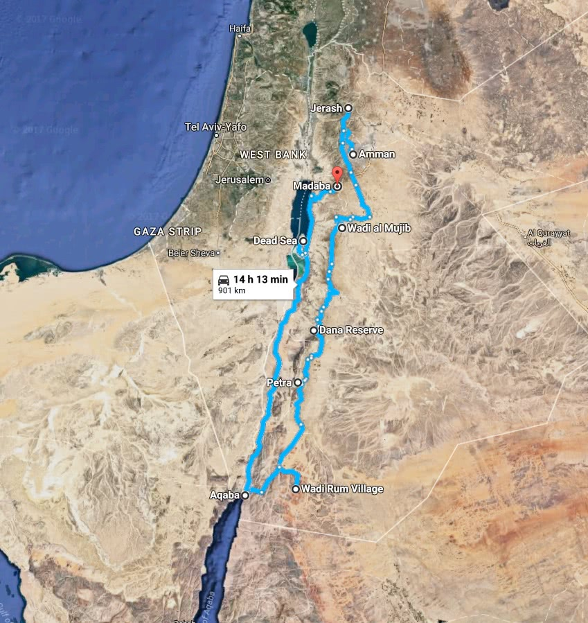 Map of the travel itinerary in Jordan