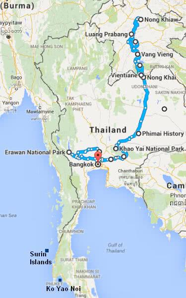 Map of the travel itinerary in Thailand and Laos
